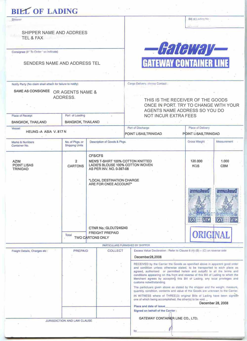 pattaya shipping Bill of Lading BIL and what the form means for – Sample of Bill of Lading Document